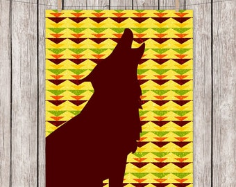 8x10 Printable Art Wolf Howling Tribal Triangles Art Print Animal Wall Art Instant Download Digital File