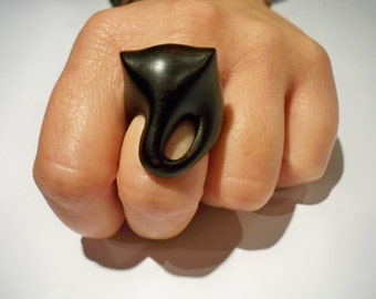 wooden ring, made to order, elephant, black gabon ebony