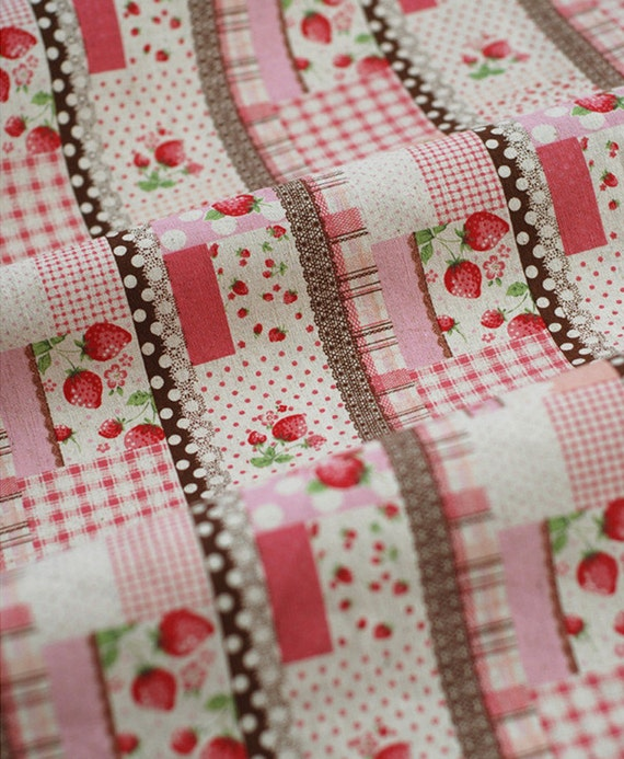 Retro Lace And Strawberry Pattern Cotton Linen Fabric Home - retro home decor fabric by the yard