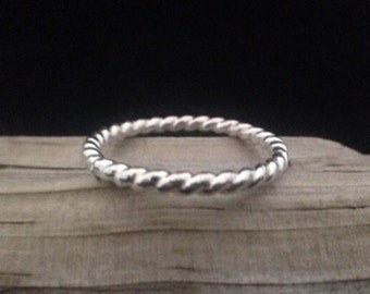 12g Twisted Sterling Silver Stacking Ring