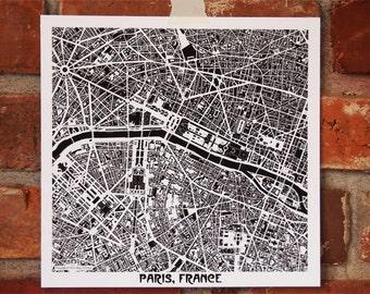 Paris Map Art Print, Eiffel Tower, Louvre, Arc de Triomphe, France Map Art