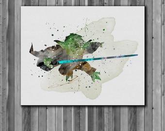 Star Wars Poster, Yoda  - Art Print, instant download, Watercolor Print