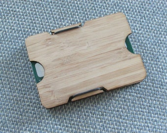 Laser Cut Bamboo Minimalist Wallet Type 2 Front or Back Pocket