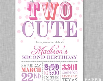 Girl's Second Birthday Party Invitation, Two Cute