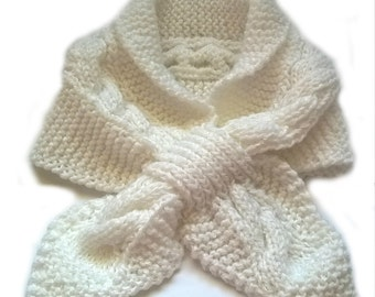 Pure White Keyhole scarf, stay put scarf, neck warmer Ascot scarf, scarflette, womens gift, short scarf, cable scarf, womens winter scarves