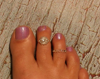 SilverBall Flower Toe Ring w/ Band