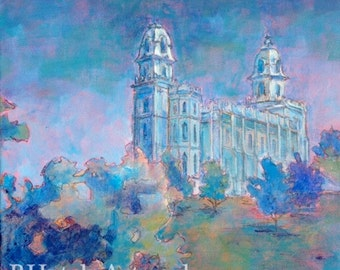 Manti LDS Temple Painting PRINT, variety of sizes available