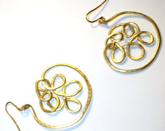 Leaf earrings with gold plated silver hooks