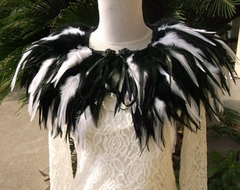 white and black feather Collar Shrug Cape