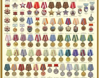 Russian Soviet Medal Order Poster
