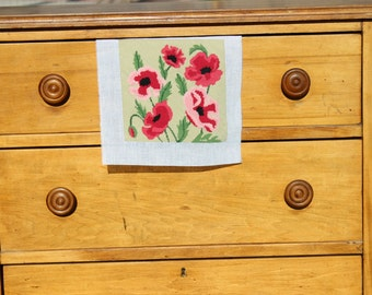 Colorful Poppies on Tan Background, Finished Needlepoint Canvas