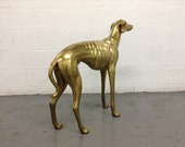 Hollywood Regency, Solid Brass Adult Male, Life Size Greyhound Whippet Statue Sculpture Dog Animals Figurine Standing