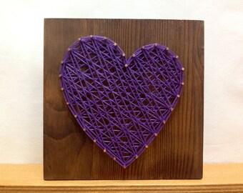 String Art Heart Sign Violete Lilac Purple Wall Art