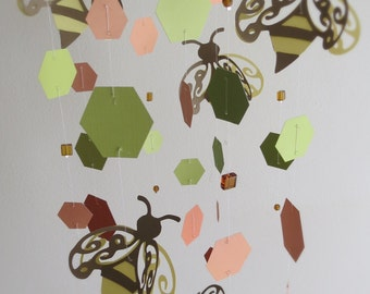 Hanging Bee Mobile - green and peach mobile, custom colors mobile, home decor,