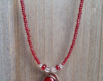 Upcycled Red Necklace of Ruby Red Glass Beads