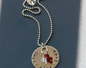 Hand Stamped Sterling Silver Mommy Necklace with Birthstones, Hand Stamped Mommy Jewelry, 1308