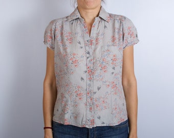 Gray Cotton Womens Blouse Short Puff Sleeve Boxy Shirt Floral Print Top Large Size