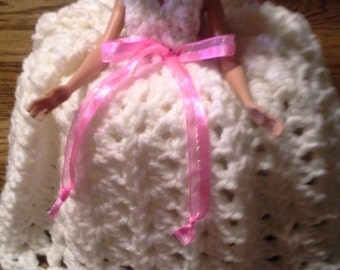 Doll with Crocheted Dress/ Toilet Tissue Cover