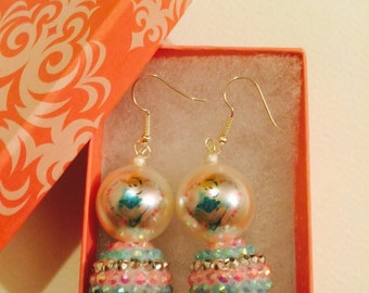 Princess Cinderella Disney Pearl with Blue Pink Rhinestone Dangle Earrings
