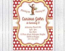 Printable, Curious George, Birthday Invitation, Vintage, Classic Curious George, Book Illustration, Party Invite, Digital Invitation