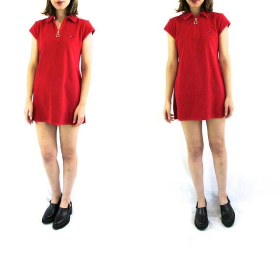 90s Tommy Hilfiger Red Terry Cloth Polo Dress XS by PassportVtg