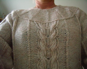 Sweater-tunic knitted woman hand, size 40/42, french Vintage, 1980