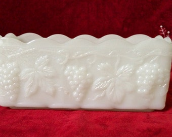 Anchor Hocking Milk Glass Grape/Leaf Pattern Planter/Bowl - 20% off entire store - coupon code - SUMMERSALE