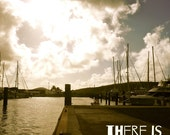 Sunshine In My Soul, Typography, St Thomas, Sailboats, Pier Photography 8x10