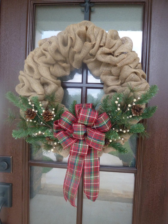 Burlap Christmas Wreath, Burlap Holiday Wreath, Christmas Wreath, Holiday Wreath, Burlap Wreath, Traditional Christmas Wreath