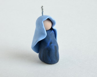Expectant Mary Ornament-- Miniature Polymer Clay Jesse Tree Ornament