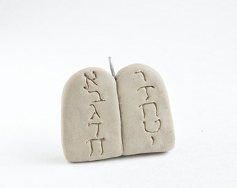 Ten Commandments Stone Tablets Ornament -- Miniature Polymer Clay Jesse Tree Ornament