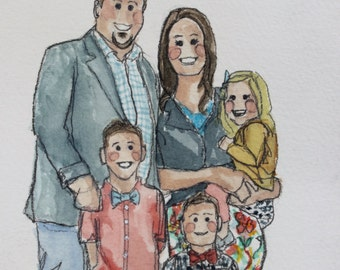 CUSTOM FAMILY PORTRAIT- Illustrated Portrait- up to 4 people/pets, with plain background
