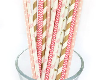 Princess Party Decor - Paper Party Straws - Gold and Pink Party Decor - Striped Paper Straws -Bridal Shower, Bachelorette Party, Girls Party