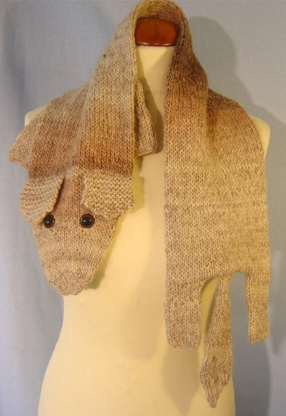 Warm beige brown fox scarf