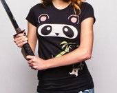 Ninja Panda (GT1909-WM) Womens T-shirt. Panda lover, pandas, girls panda tees, ninja, ninja panda, panda bears, womens ninja tee, panda tee.