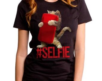 Selfie Kitten (GT4430-102BLK) Women's T-shirt. Cat lover, selfie, cats, kittens, kitty lover, women's cat tee, cat shirts, cell phone tees.