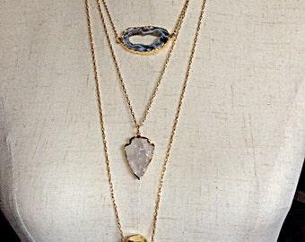 Gold Necklace Druzy Geode Slice - Agate Druzy Necklace - Agate Slice Necklace - Agate Drusy - Druzy Geode Slice Necklace - Boho - Chic