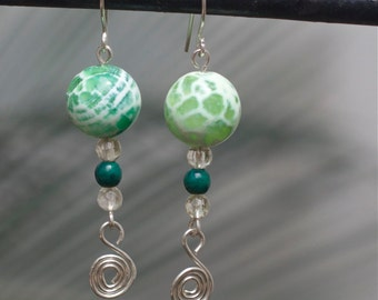 Green earrings Silver earrings silver jewelry Sterling silver earrings Dangle earrings Gemstone earrings  Natural stone earrings Summer