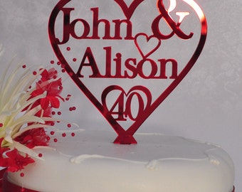 Unique Personalised 40th Ruby Wedding Anniversary Double Name Heart Cake Topper Keepsake - Red Mirror Acrylic - Little Shop of Wishes