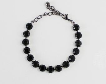 Jet Black 8mm Swarovski Crystal Bracelet