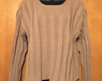 Eddie Bauer ribbed tan cotton knit sweater in 100% cotton in Misses medium.