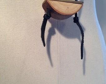 brass flat wood leather pendant