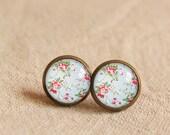 Floral  Earrings, Bronzen /Silver Bronzen Earrings, Custom Chevron , pairs Women Warrings, Gifts box included