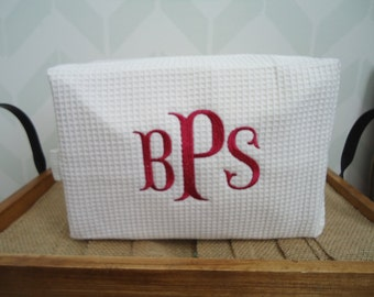 5 personalized Monogrammed Makeup Bags - Personalized Cosmetic Bag - Bridesmaid Gift - Wedding Gift - Waffle Weave