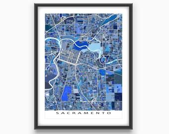 Sacramento Map, Sacramento California USA, City Art Print, Cartography Poster