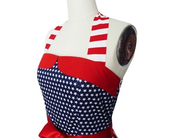 4th July USA Dress American Flag Dress Stars Stripe Independence Day Party Dress Rockabilly Dress Pin Up Dress Retro Dress Plus Size Dress