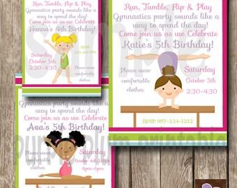 Invite- Gymnastics Party Invite - Personalized Birthday Invite - Print at Home - Girls Tumble