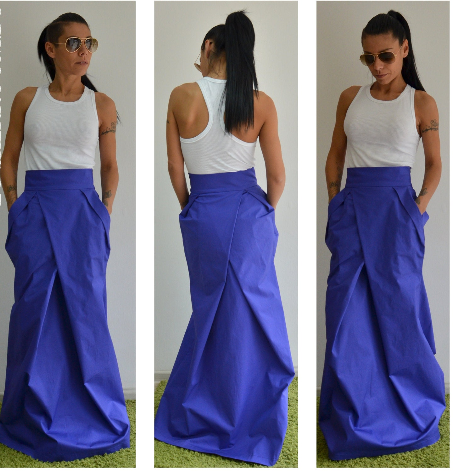High Waisted Long Skirt