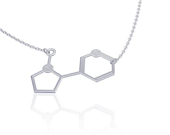 Molecule necklace chemistry jewelry chemistry necklace nicotine necklace silver nicotine necklace womens jewelry