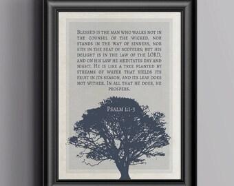 Scripture Art - Psalm 1:1-3 - 8 x 10 Printable - Digital Download - Blue & Red